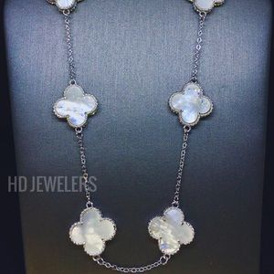 Mother Of Pearl Solid 925Silver 10 Clover Necklace